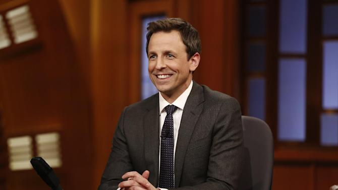 """This Feb. 24, 2014 image released by NBC shows host Seth Meyers during the premiere of his new late night talk show, """"Late Night with Seth Meyers"""" in New York. (AP Photo/NBC, Peter Kramer)"""
