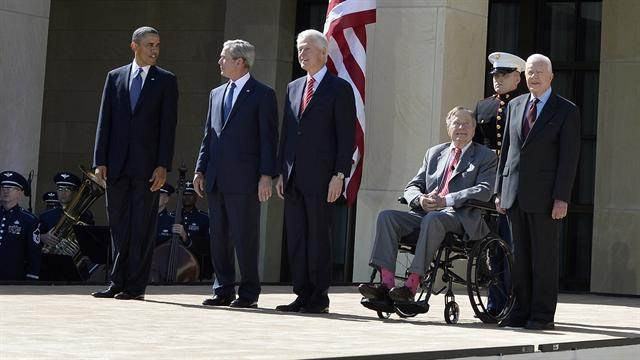 Library dedication brings 5 living presidents together
