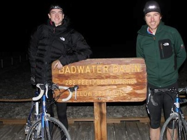 Adam Peterman and Matt Foote prepare to embark from Death Valley on bike — Facebook