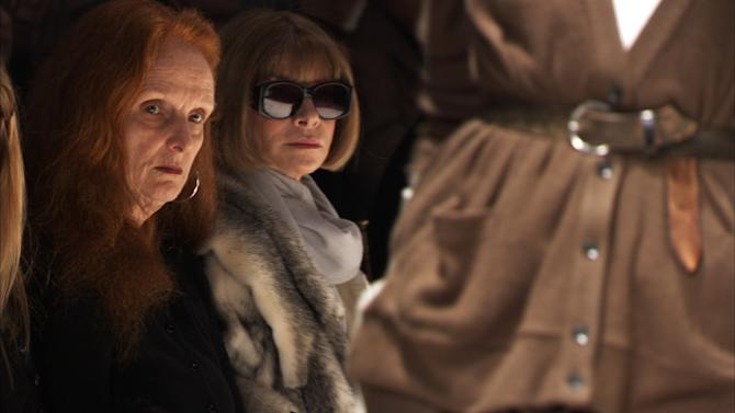 """FILE - This photo released by Roadside Attractions shows Grace Coddington, left, Creative Director, VOGUE; and Anna Wintour, Editor-in-Chief, VOGUE, right in """"The September Issue"""", a film by RJ Cutler. Coddington is the author of a book titled, """"Grace: A Memoir,"""" released Nov. 20, 2012 by Random House. (AP Photo/Roadside Attractions, file)"""