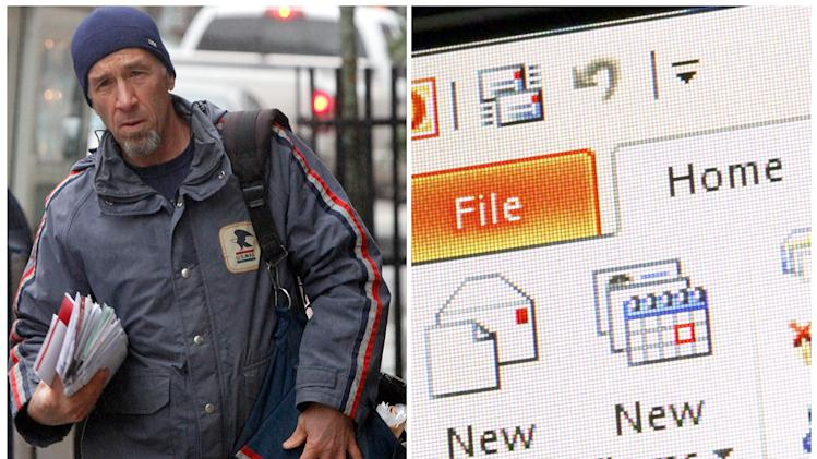 "This combination of Associated Press file photos shows, left, mail carrier Mike Gillis delivering mail in 2011, in Montpelier, Vt., and right, Microsoft Outlook being demonstrated on a desktop computer in 2013, in New York. The number of ""mail carriers"" in the U.S.  fell 10 percent from 358,000 to 321,000 in ten years through 2010. (AP Photo)"