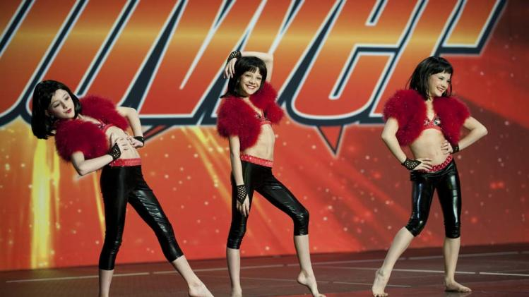 "Paige, Chloe and Brooke perform in ""Dance Moms."""