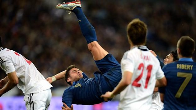 France srtriker Olivier Giroud in action against Japan on October 12 2012