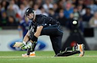 New Zealand's Martin Guptill bats during the Twenty20 international against England, in Auckland, on February 9, 2013. The opening batsman will miss the Black Caps' home Test series against England to undergo surgery on an injured thumb