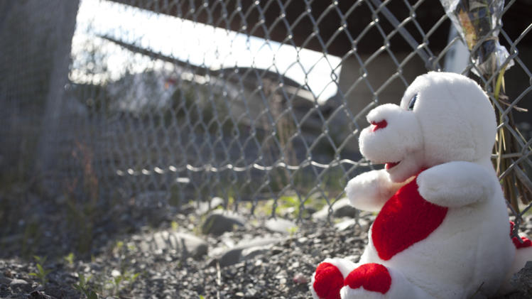 A small memorial site Tuesday July 9, 2013 near the site of a plane crash that killed 10 people at the Soldotna Airport in Soldotna, Alaska. (AP Photo/Peninsula Clarion, Rashah McChesney)
