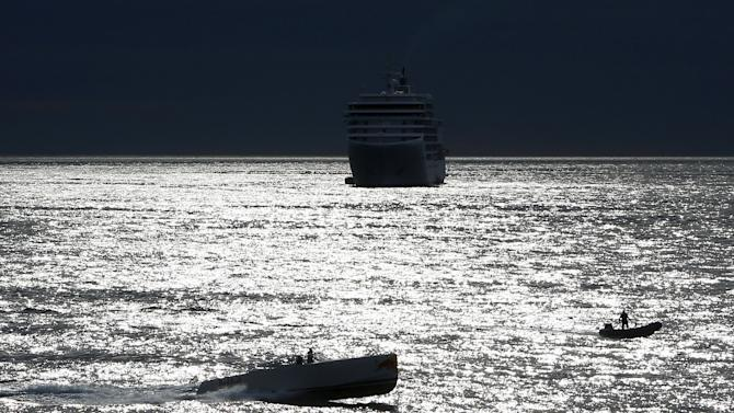 Boats are pictured outside Monaco's port ahead the start of the third free practice session at the Monaco F1 Grand Prix