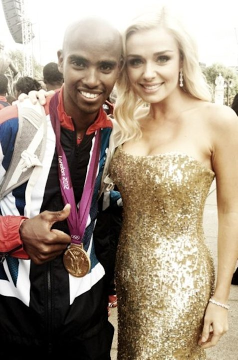 Celebrity photos: Katherine Jenkins performed at the Olympics Parade earlier this week. After her performance, she scouted out some athletes and had her photo taken with them. She tweeted this one of