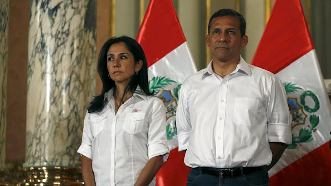 Peru's President Humala and his wife Heredia attend a ceremony at the Government Palace in Lima