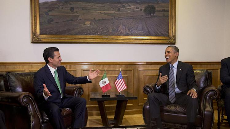 "President Barack Obama meets with Mexican President Enrique Peña Nieto at the state government palace in Toluca, Mexico on Wednesday, Feb. 19, 2014, before the seventh trilateral North American Leaders Summit Meeting. This year's theme is ""North American Competitiveness."" (AP Photo/Jacquelyn Martin)"