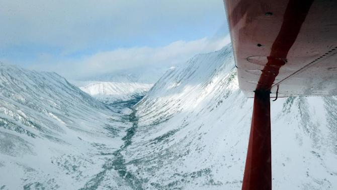 This aerial photo shows the Iditarod Trail in Rainy Pass, Alaska during the Iditarod Trail Sled Dog Race on Tuesday, March 5, 2013. (AP Photo/The Anchorage Daily News, Bill Roth)