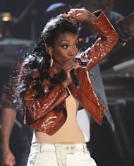 Brandy performs during the in memoriam for Whitney Houston at the BET Awards on Sunday, July 1, 2012, in Los Angeles. (Photo by Matt Sayles/Invision/AP)