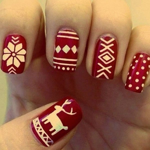 Best Christmas nail art © neonbeanies / tumblr
