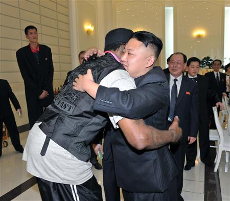 North Korean leader Kim Jong-Un and former NBA basketball player Dennis Rodman (front L) hug in Pyongyang in this undated picture released by North Korea's KCNA news agency on March 1, 2013. REUTERS/KCNA