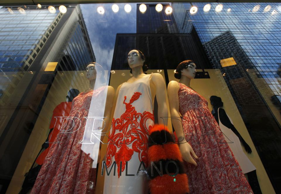 A window display is seen at a Prada store in Hong Kong Sunday, June 12, 2011. Prada and its bankers say an international roadshow to promote the Italian fashion house's upcoming Hong Kong IPO is going well despite recent turmoil in world stock markets. Prada is selling some 423.3 million shares in an initial public offering this month. (AP Photo/Vincent Yu)