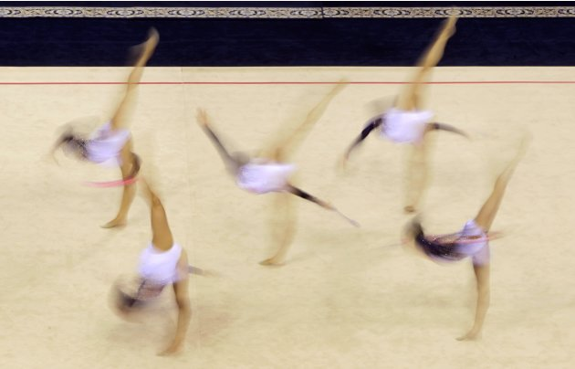 The Belarusian team performs during the 2013 BelSwissBank Minsk rhythmic gymnastics world cup in Minsk