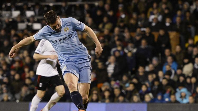 Manchester City's Milner scores against Fulham during their English Premier League soccer match in London