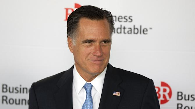 Republican presidential candidate, former Massachusetts Gov. Mitt Romney waits as he is introduced during the Business Roundtable quarterly meeting at the Newseum in Washington, Wednesday, June 13, 2012.  (AP Photo/Evan Vucci)
