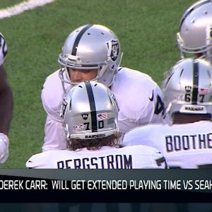 Derek Carr to get extended playing time against the Seahawks