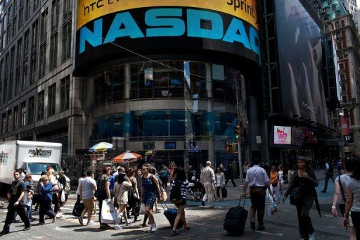 <p>The Nasadaq stock index led Wall Street lower Thursday, as traders shrugged off data showing US unemployment claims fell to their lowest level since March 2008.</p>