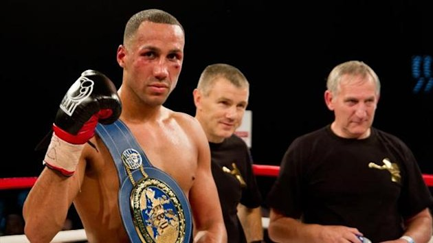 James DeGale poses with the European super middleweight title (photo: Neill Hamersley)