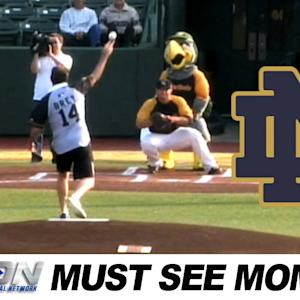 Notre Dame's Mike Brey Gets A First Pitch Do-Over | ACC Must See Moment