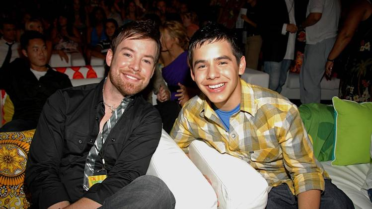 Singers David Cook and David Archuleta during the 2008 Teen Choice Awards at Gibson Amphitheater on August 3, 2008 in Los Angeles, California.