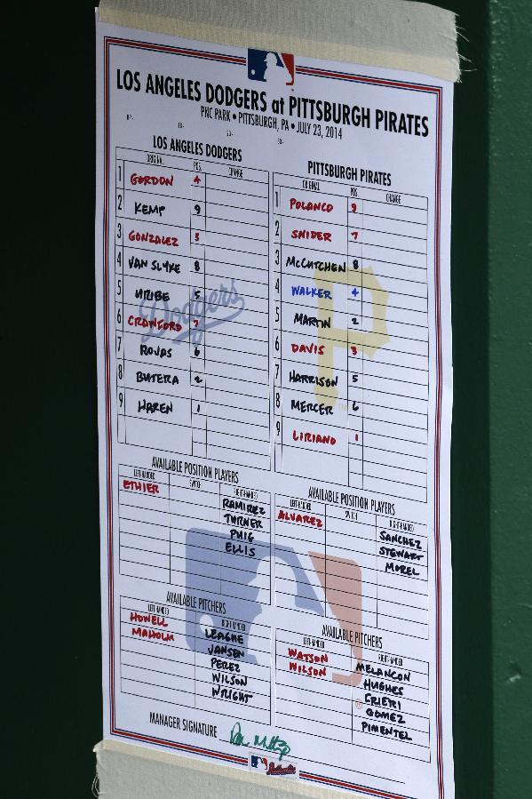 This is the lineup card on the wall of Los Angeles Dodgers dugout at PNC Park before a baseball game against the Pittsburgh Pirates in Pittsburgh Wednesday, July 23, 2014. The Pirates won 6-1. (AP Photo)
