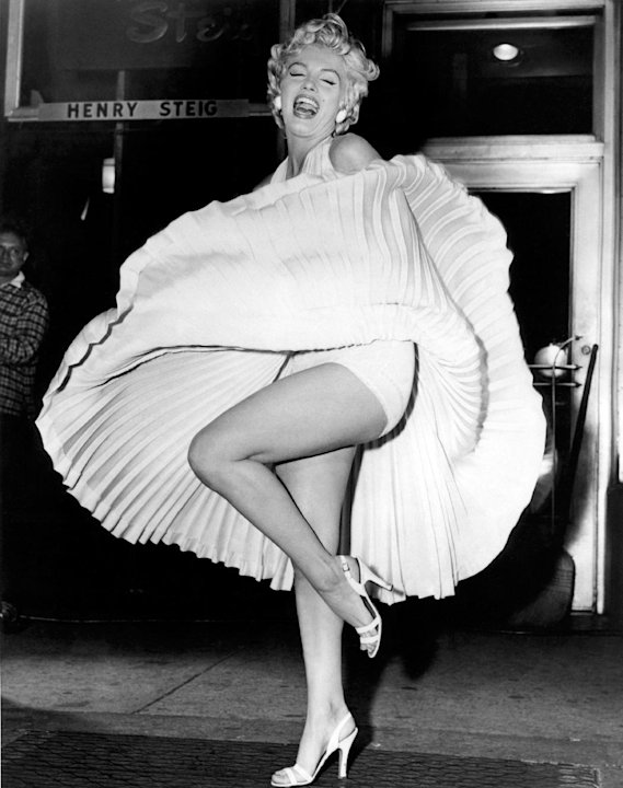 "In this September 15, 1954 publicity photo courtesy Running Press, Marilyn Monroe is shown during the ""subway"" scene of ""The Seven Year Itch,"" filmed late in the evening on Lexington Avenue in New Yor"
