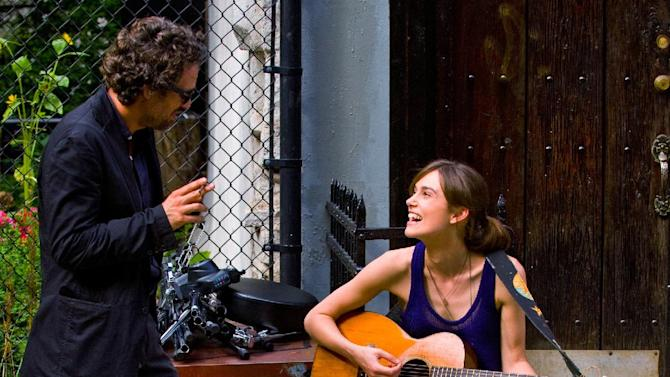 """This image released by The Weinstein Company shows Mark Ruffalo, left, and Keira Knightley in a scene from """"Begin Again."""" (AP Photo/The Weinstein Company, Andrew Schwartz)"""
