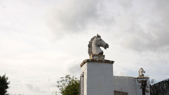 "In this photo taken on Monday, April. 8, 2013, Head horses sculptures decorate the main entrance of ""La Yeguada de Cuatro Vientos"" ranch belonging to breeder Francisco Jose Rodriguez in Almonte, in the southern Spanish region of Andalusia. Barring an unlikely reprieve, Rodriguez' purebreds will be turned into horse meat for export come in the next coming months. They are victims of a wrenching economic downturn that has wiped out fortunes, turned housing developments into ghost towns and left more than a quarter of the population out of work. (AP Photo/Laura Leon)"