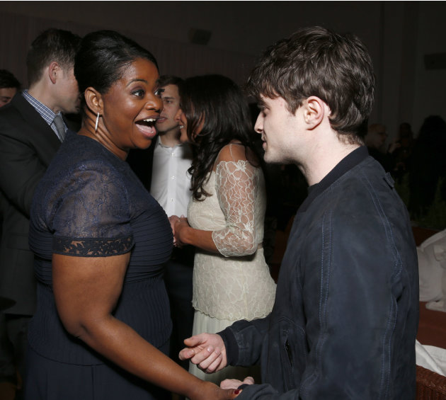 Octavia Spencer and Daniel Radcliffe attend at the 6th Annual Women in Film Pre-Oscar cocktail party at Fig and Olive on Friday, Feb. 22, 2013 in Los Angeles. (Photo by Todd Williamson/Invision/AP)