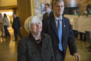 Janet Yellen, Chair of the Federal Reserve enters the opening reception of the Jackson Hole Economic Policy Symposium in Jackson Hole