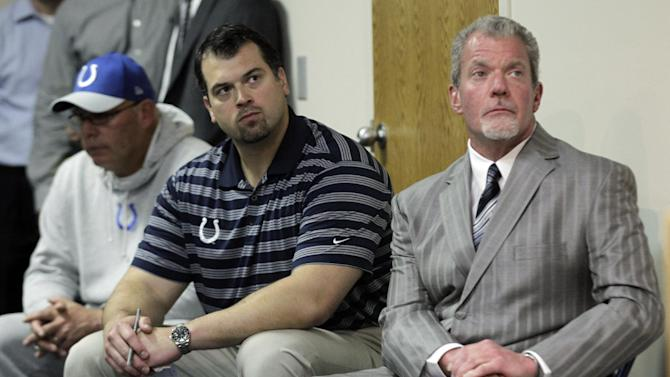 Indianapolis Colts owner Jim Irsay, right, general manager Ryan Grigson, center, and interim head coach Bruce Arians listen as a doctor talks about head coach Chuck Pagano, who has been diagnosed with acute promyelocytic leukemia, during an NFL football news conference at the team's headquarters in Indianapolis, Monday, Oct. 1, 2012. (AP Photo/Michael Conroy)