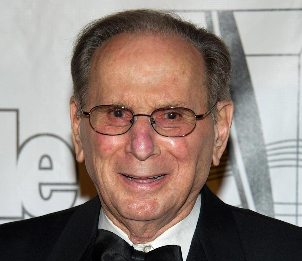 FILE - In this June 16, 2011 file photo, Hal David arrives at the 42nd Annual Songwriters Hall of Fame Awards in New York. President Barack Obama will honor songwriting duo Bacharach and Hal David with Gershwin Prize at White House concert, Wednesday. (AP Photo/Charles Sykes, File)
