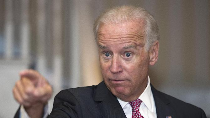 "FILE - In this Sept 12, 2013 file photo, Vice President Joe Biden gestures during a speech in Washington. For almost a year, The Associated Press has been tracking movements and machinations of more than a dozen prospective presidential candidates. Obviously one of them, Biden, said during a joint interview with President Barack Obama on CBS in April, ""If I decide to run, believe me, this would be the first guy I talk to. But that decision hasn't been made, for real. And there's plenty of time to make that."" ( AP Photo/Cliff Owen, File)"