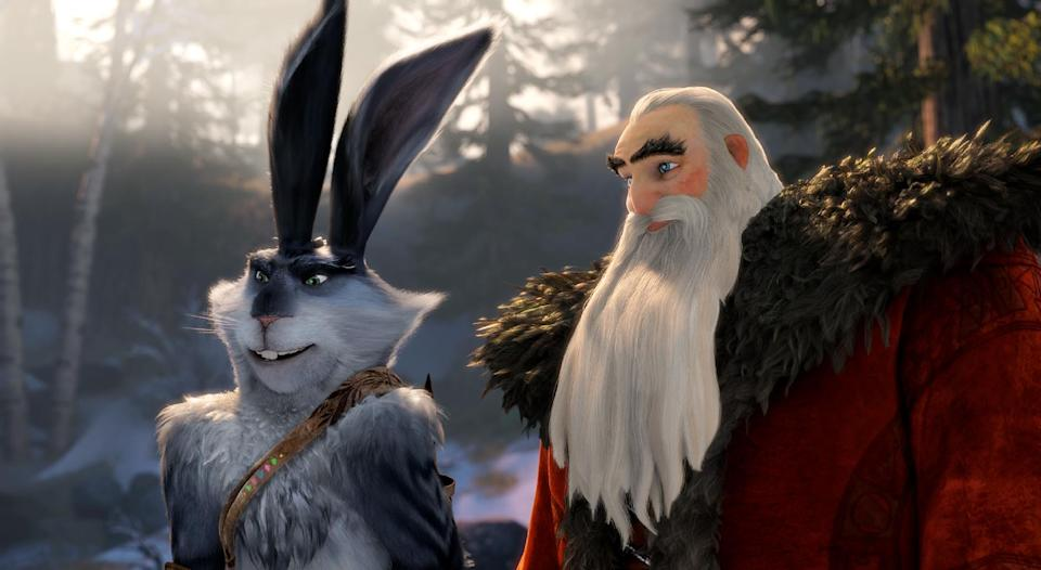 "This image released by Paramount Pictures shows  Bunnymund, voiced by Hugh Jackman, left, and North, voiced by Alec Baldwin in a scene from ""Rise of the Guardians.""  (AP Photo/Paramount Pictures, DreamWorks Animation)"