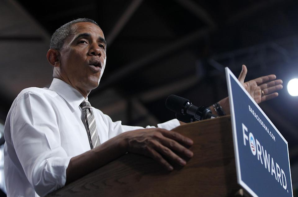 President Barack Obama speaks at a campaign event at the Colorado State Fairgrounds, Thursday, Aug. 9, 2012, in Pueblo, Colo. (AP Photo/Pablo Martinez Monsivais)