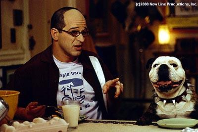 Allen Covert as Todd with Beefy the bulldog (voiced by Robert Smigel ) in New Line's Little Nicky