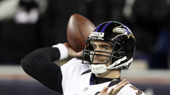 Baltimore Ravens quarterback Joe Flacco warms up before the NFL football AFC Championship football game against the New England Patriots in Foxborough, Mass., Sunday, Jan. 20, 2013. (AP Photo/Stephan Savoia)