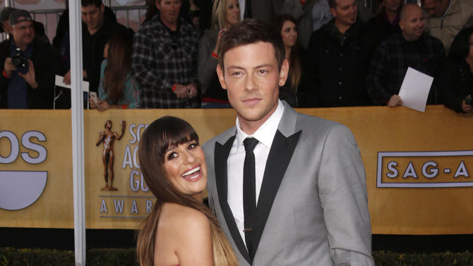 Lea Michele and Cory Monteith arrive at the 19th Annual Screen Actors Guild Awards at the Shrine Auditorium in Los Angeles on Sunday Jan. 27, 2013. (Photo by Todd Williamson/Invision for The Hollywood Reporter/AP Images)