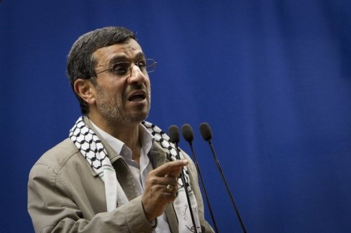 File picture of Iranian President Mahmoud Ahmadinejad delivering a speech at Tehran University during the &quot;Quds Day&quot; rally, an anti-Israeli demonstration in solidarity with Palestinians in Tehran, last month