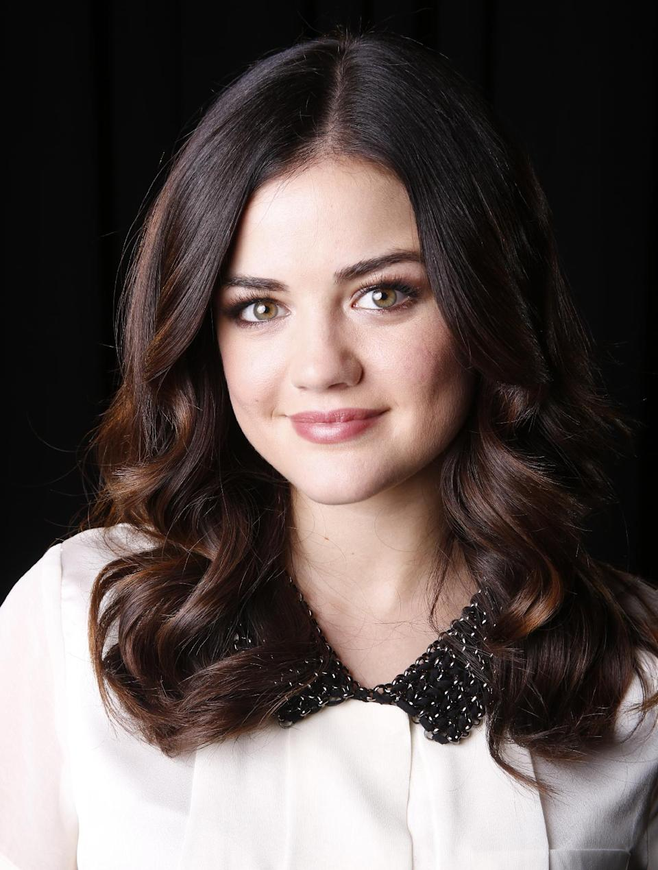 "FILE - This Nov. 20, 2012 file photo shows actress Lucy Hale posing for a portrait in New York. Hale stars in the ABC Family series, ""Pretty Little Liars."" (Photo by Carlo Allegri/Invision/AP, file)"