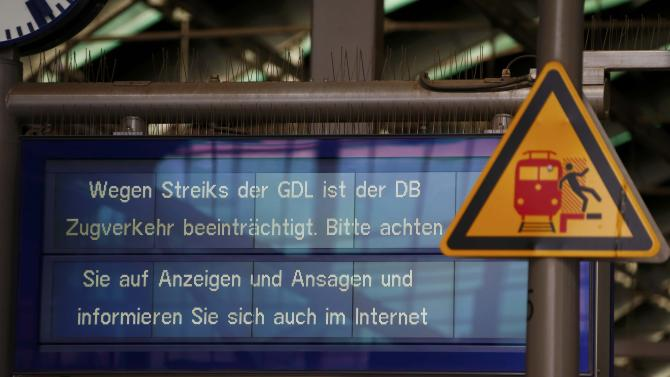 An information board is pictured during a nationwide strike of Germany's train drivers union GDL at Ostbahnhof train station in Berlin