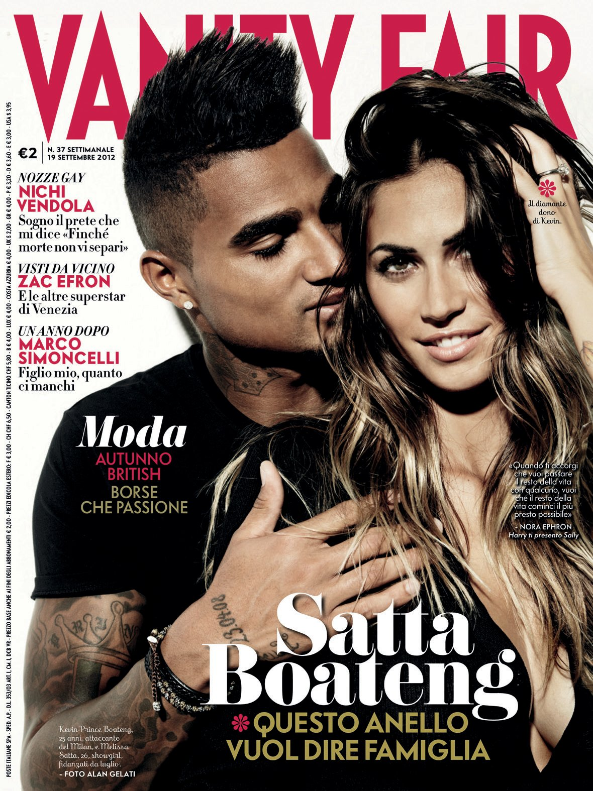 EXCLUSIVE Kevin-Prince Boateng & Melissa Satta Engaged Vanity Fair ...