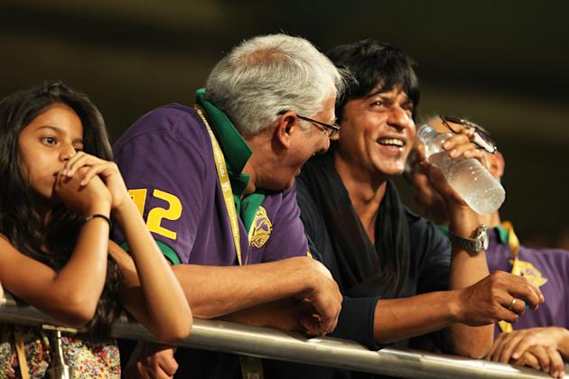 KKR co owner Jay(R), Sharukh Khan and SRK daughter(L) and other officials at vip box during match 47 of the Pepsi Indian Premier League between The Kolkata Knight Riders and the Rajasthan Royals held