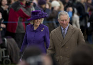 Britain's Prince Charles and his wife Camilla the Duchess of Cornwall arrive for the British royal family's traditional Christmas Day church service in Sandringham, England, Tuesday, Dec. 25, 2012. (AP Photo/Matt Dunham)