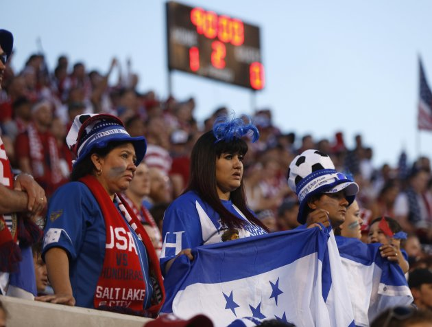 Fans for Honduras watch in extra time at the end of the second half during their 2014 World Cup qualifying soccer match against the U.S. in Salt Lake City, Utah