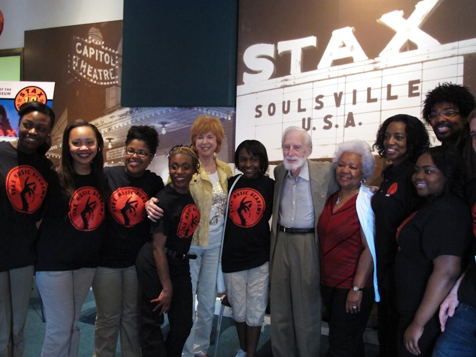 Stax Records founder Jim Stewart (bearded, in middle) poses for a photo with friends and students of the Stax Music Academy on Monday, April 29, 2013 in Memphis, Tenn. (AP Photos/Adrian Sainz)