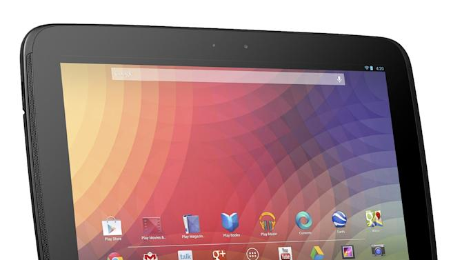 This undated image provided by Google shows Google's new 10-inch tablet, the Nexus 10.  The Nexus, which starts shipping Tuesday, Nov. 13, 2012, appeares on its face to be a good alternative to Apple's general-purpose tablet, and with a price tag that's $100 less. (AP Photo/Google)