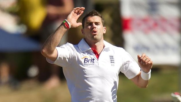 England's James Anderson bowls during day two of the first international cricket Test match between New Zealand and England at the University Oval Park in Dunedin on March 7, 2013 (AFP)